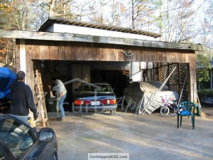 Metro Atlanta home with covered parking area before remodel