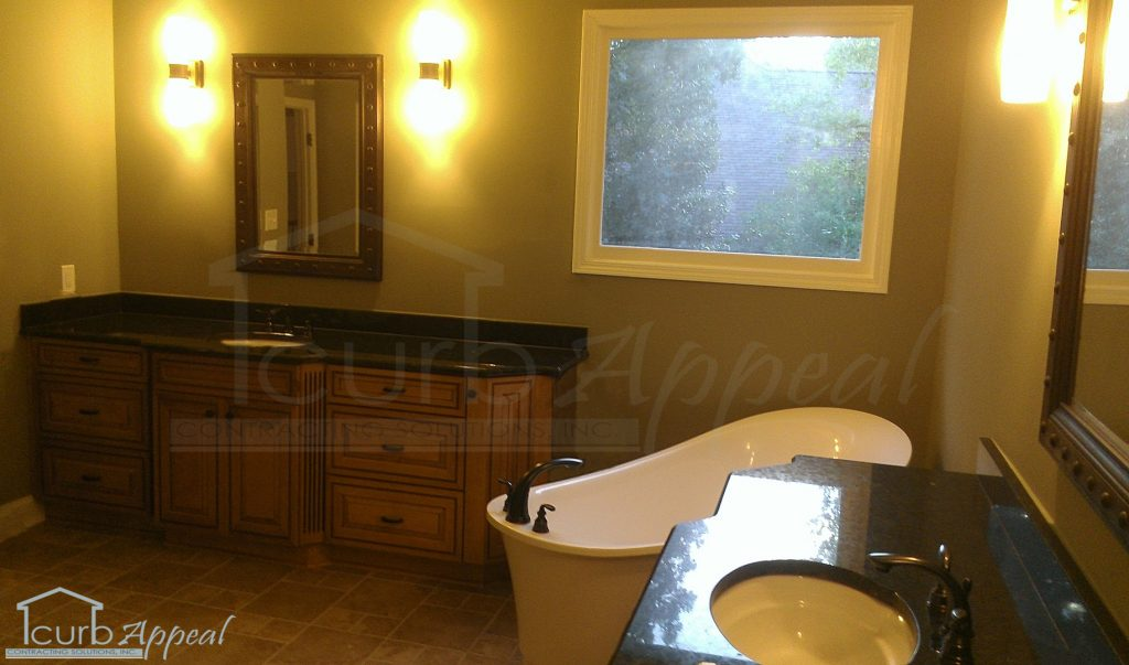 new vanities and free standing bathtub in Duluth,GA remodel