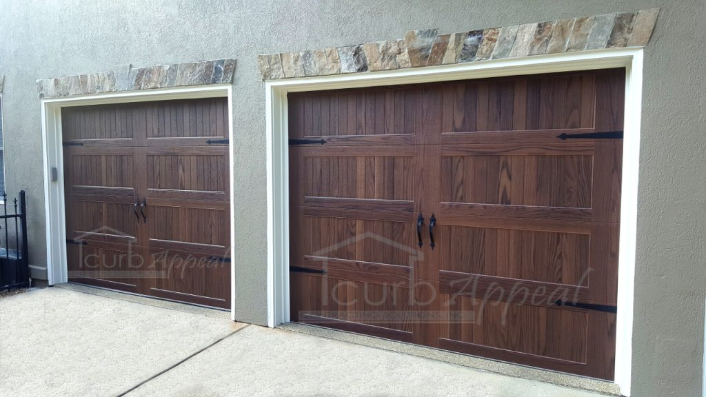 accents faux wood finish garage doors