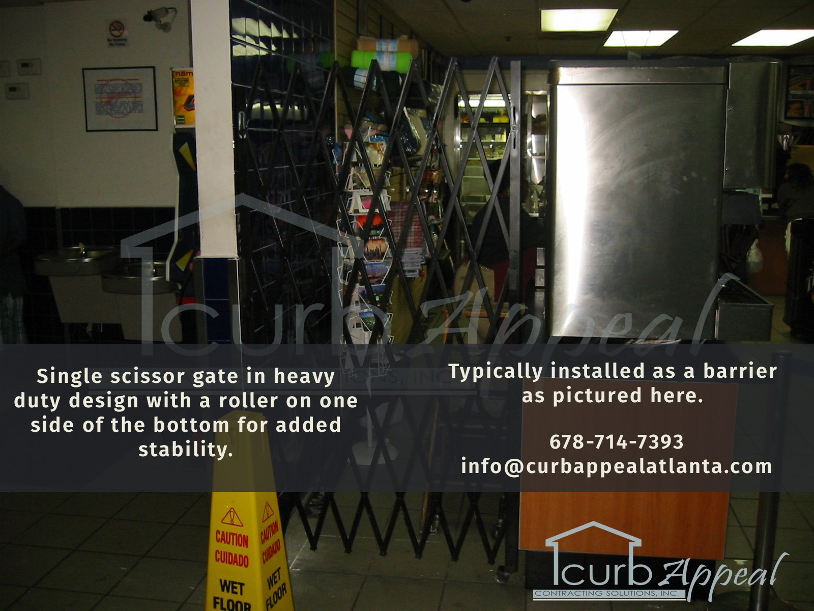 folding gate restricting access to food service area