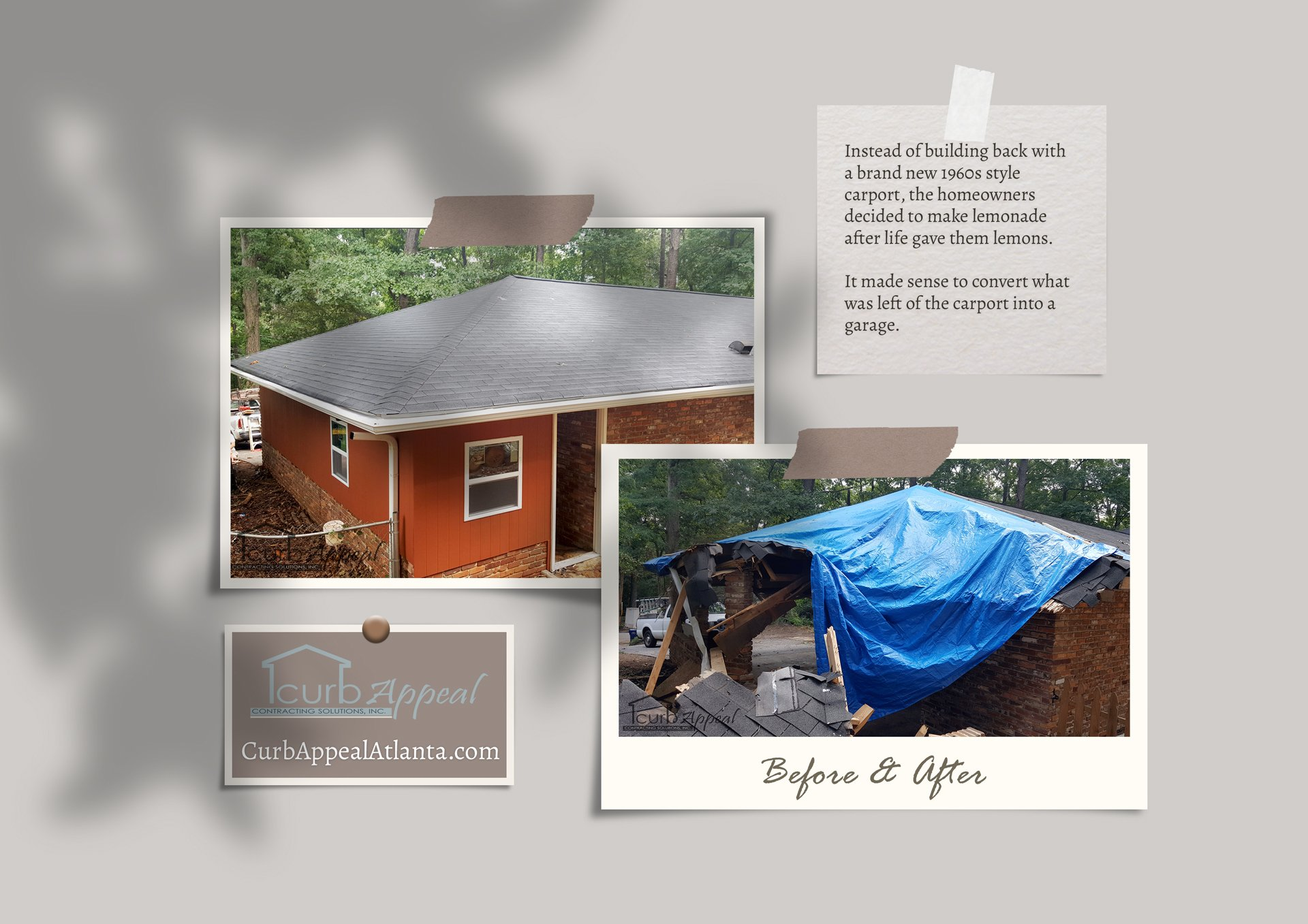 Before and after photos of a storm damaged carport converted to a garage
