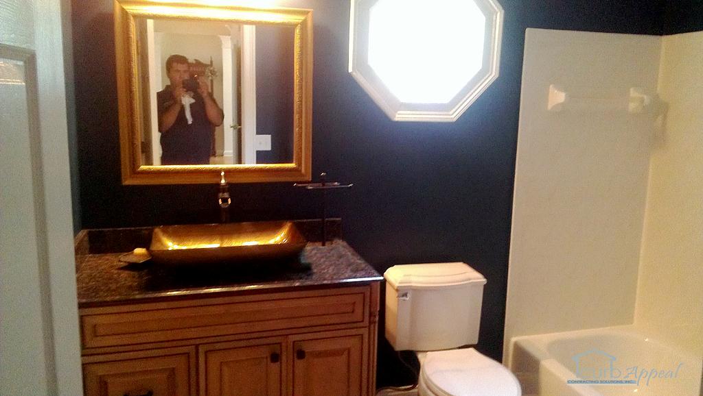 A bathroom remodel in sugar hill.