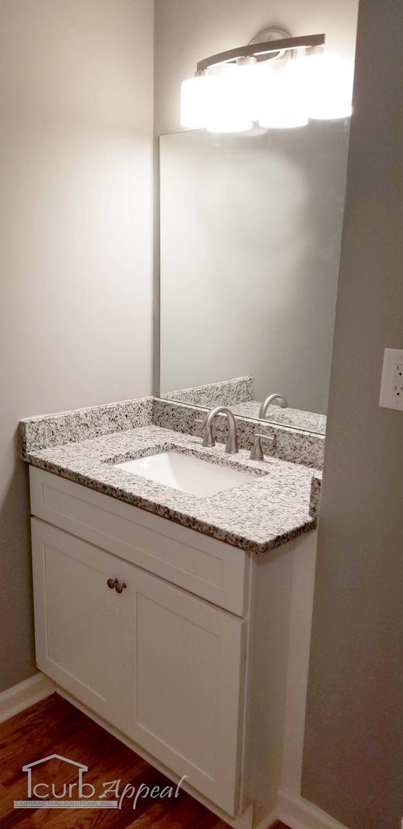 A new bathroom vanity after remodeling a bathroom in Sugar Hill, GA